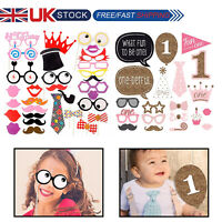 Photo Booth Cardboard Party Props Set Happy Birthday Colorful Selfie Funny Decor