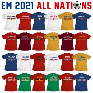 EM 2021 Europameisterschaft Fußball alle Länder Fan Trikot T-Shirt 2020