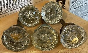 Vintage Lot of 5 Antique Glass & Brass Doorknobs - and Some Hardware