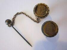 Tie Stick Pin With Chain Vintage Rare Antique Victorian Carved Portrait Lapel /