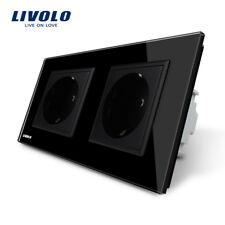 Livolo Touch Lichtschalter Steckdose Glas Doppel Steckdosen Schalter in Schwarz