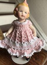 "Crochet Dress for 4 - 4.5"" Kestner, Mignonette Antique Bisque Doll Pink/White"