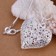 Love Hollow Choker Pendant Necklace Sanke Chain Silver Plated Heart-shaped