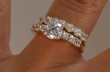 14k Yellow Gold Finish Round Cut Diamond Engagement Wedding Bridal Band Ring Set