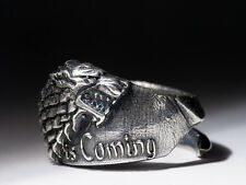 House Stark Direwolf Ring Winter Is Coming, Game of Thrones, silver-plated brass