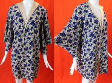 Vintage 30s Purple Violet Flower Print Silk Crepe Kimono Sleeve Long Coat Jacket