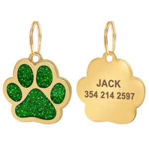 Bling Stainless Steel Personalized Dog Cat Tags Engraved Dog ID Name Collar Tag