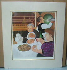 Beryl Cook, Dining in Paris - Signed Mounted Limited Edition Dinner Dog Print