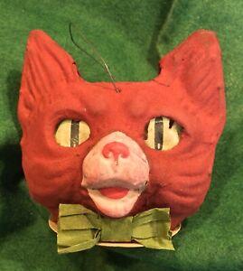 Antique German Halloween Paper Mache Rare Red Flocked Cat Lantern