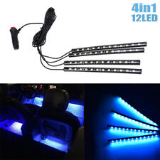 4X LED Ice Blue Cigarette Lighter Car Interior Floor Atmosphere Light Strip Lamp