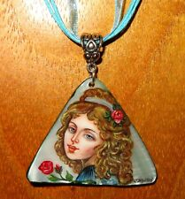 Pendant Girl with curly hair Russian hand painted ART Abalon SHELL signed IZOTOV