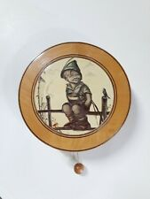 Vintage Hummel Wood Wall-Hanging Music box-Reuge Edelweiss, Boy On Fence & bird