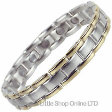 NEW Stunning Mens Two Tone Magnetic Bracelet Therapy NdFeB Magnets Free Gift Box