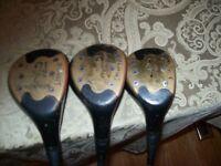 3  Spalding Registered Woods 2 1/2 , 3 1/2 , 4 1/2  in Excellent Condition Vtg.