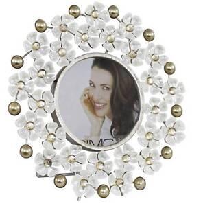 Beautiful Gold Pearl White Lustre Flower Round Photo Frame Birthday  Xmas Gift