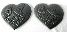 ANTIQUE CAST IRON HUMMINGBIRD FLORAL HEART SHAPE TRIVET WALL ART PLAQUE SET OF 2