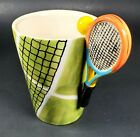 Tennis Anyone Blue Witch Ceramic Hand Painted 3D Tennis Racket Court Mug Cup