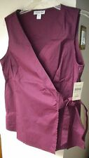 Coldwater Creek Faux Wrap Top, Sleeveless Solid Wine Cotton Blend Casual  Sz 14