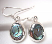 Abalone 925 Sterling Silver Oval Dangle Earrings Corona Sun Jewelry