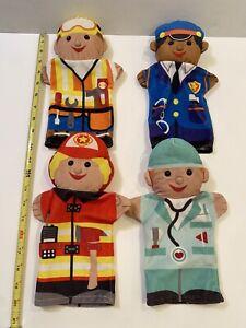 Melissa & Doug JOLLY JOBS Hand Puppets Police Doctor Fireman Construction Worker