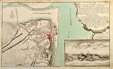 Raspe 1759 Quebec Plan Prospect der Stadt Karte City Map Plan Antique Print