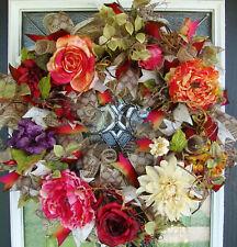 XL Elegant Deluxe Fall Floral Deco Mesh Front door Wreath, Home Decor Decoration