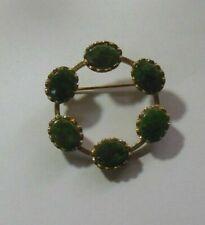 Jade Circle Brooch Vintage Marked Sterling Vermeil