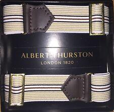 ALBERT THURSTON Adjustable Elastic ARMBANDS for shirt sleeves BROWN STRIPE