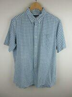 Chaps Ralph Lauren Mens Shirt Size L Short Sleeve Button Up Custom Fit Check