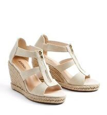 JustFab Karsey Womens UK 7 Wide Fit Linen Metallic Wedge Heel Espadrille Sandals