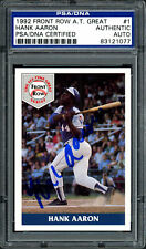 Hank Aaron Autographed Signed 1992 Front Row Card #1 Atlanta Braves Psa/Dna 4492
