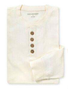 Burt's Bees Baby Organic Cotton Ivory Henley Ribbed  Shirt Mens Sz Medium