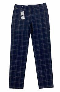 NEW Lacoste Sport Stretch Plaid Dark Blue White Mens Golf Pants Ultra Dry HH3529