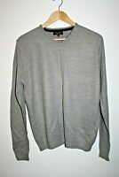 New Look Men's Jumper Long Sleeve Grey Color Casual Office Style V Neck Size M