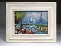 "Caroline Burnett Oil Painting Of Paris Original Work Signed 7""x5"" & 8""x10"" Frame"