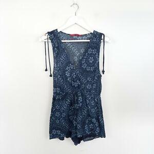 Tigerlily Women's Size 8 Blue Patterned Boho Playsuit Romper Drawstring Waist
