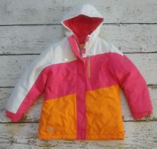 ZEROXPOSUR Girls White Orange Pink Winter Heavy Double Layer Jacket 10-12 VGUC