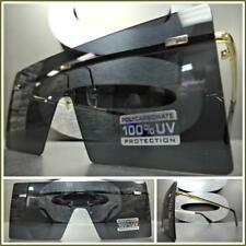 New CLASSIC RETRO Flat SHIELD VISOR Style SUN GLASSES Gold Metal Frame Dark Lens