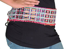 Wide Waist Hip Belt - Belly Dance Beaded Mirror Dress Accessory ~ One Size