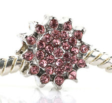 HOT Pink sunflower CZ Charm Beads Fit European Bracelet Necklace Chain A#54