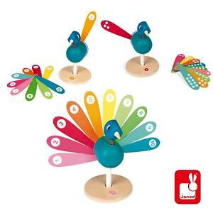 New JANOD WOODEN LEARNING HOW TO COUNT PEACOCK Teaching Educational Toy 2-6 yrs
