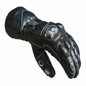 Mens Motorbike Motorcycle Leather Gloves Waterproof Protection Winter Summer