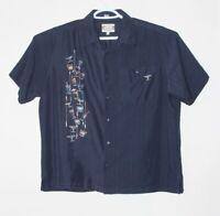 Go Barefoot men's blue cocktail Hawaiian short sleeve shirt, size large