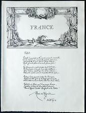1926 - Lithographie d'une poésie de Henri de Régnier de 1914 (militaria 14-18)