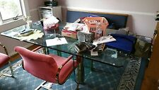 DINING Room Plate Glass Table on Rectangular Glass and Brass base. 7 1/2' Long