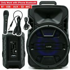"12"" EMB 1200 Watts Portable Powered DJ Speaker Works iPhone Bluetooth AUX USB SD"