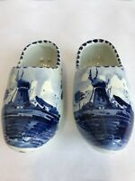 "Pair Dutch Holland Shoes Clogs Ceramic Blue & White 7"" Decorative Delft"