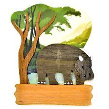 Northwoods Layered Wood Hippopotamus Hippo Habitat Refrigerator Magnet