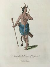 1772 Virginia NATIVE AMERICAN Hand Colored Print by Thomas Jefferys Powhatan