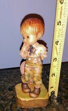 "Adorable 1990 Anri Club Piece ""A Little Bashful"" Carved Wood Figure Mint!"